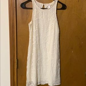Xhiliration light cream a-line dress with laceover